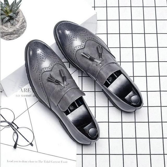 Big Size italian tassel business Formal Dress Men leather loafer formal dress flats designer office oxford shoes for men  LE-39