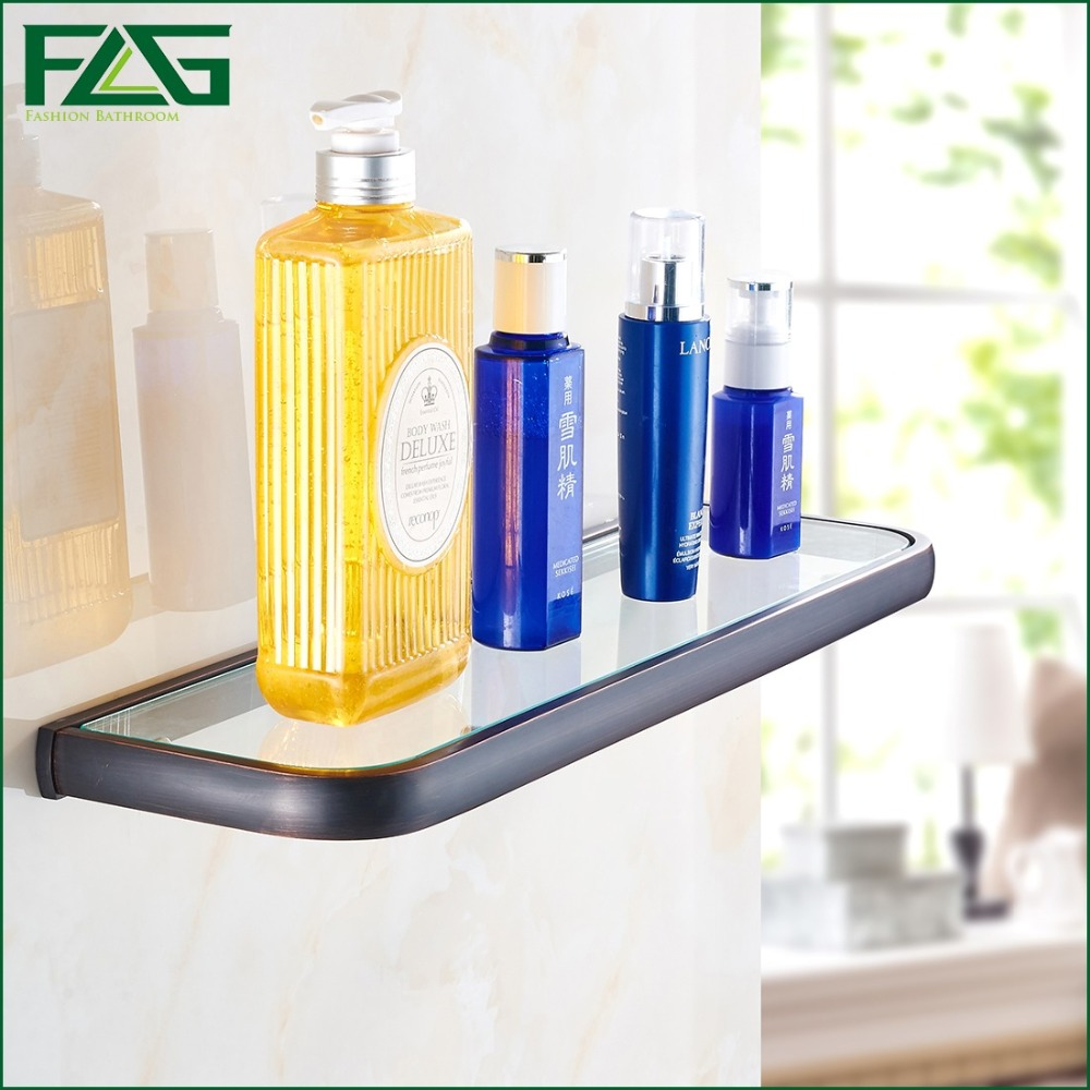 FLG Euro Single Glass Shelf Bathroom Shelf Wall Mounted Oil Rubbed Bronze Solid Brass Tempered Glass Bathroom Accessories 81310 allen roth brinkley handsome oil rubbed bronze metal toothbrush holder