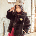 Детская Одежда Корейский Зима Этикетки Девушки Улыбающееся Лицо Утолщение Искусственный Мех Пальто Дети Одежда Черный Красный