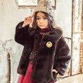 Etiqueta de Vestuário Coreano das crianças de Inverno Meninas Rosto Sorridente Espessamento Imitação de Pele Casaco Crianças Roupa Preta Vermelho