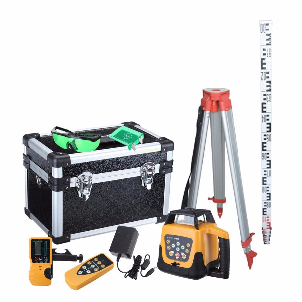 Ship From EU ! Good Quality Lower price Self leveling Rotary Rotating Laser Level 500m range Green Beam+ Tripod + staff
