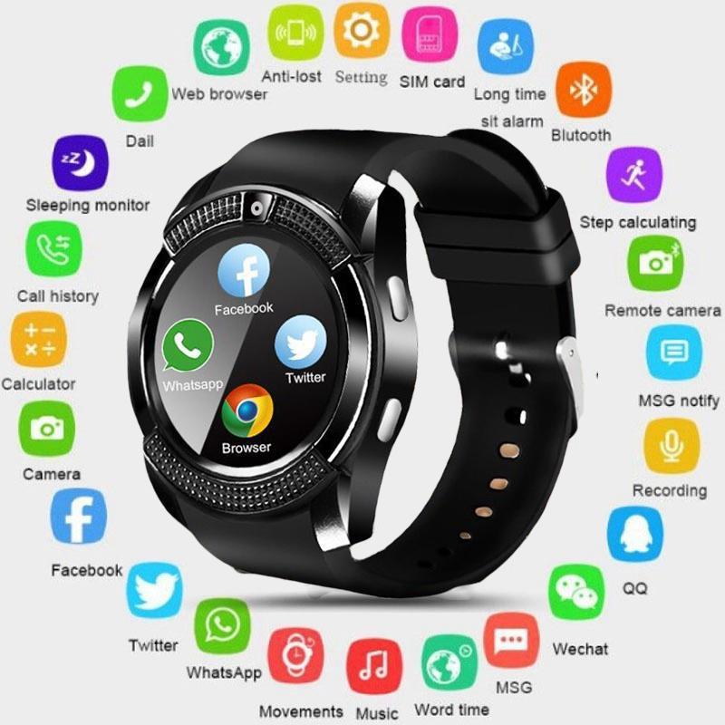 Relógio inteligente v8 homens bluetooth esporte relógios senhoras rel gio smartwatch com câmera sim slot para cartão android telefone pk dz09 y1 a1