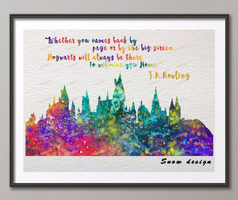 online get cheap origin quotes aliexpress com alibaba group hogwarts castle quote original watercolor canvas painting wall art poster print picture living room decor hanging