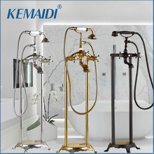 KEMAIDI Free standing Bathtub Faucet Clawfoot Tub Faucet Dual Knobs Tub Spout W/Handheld Shower Floor Standing Bath Shower Mixer