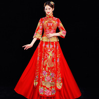 Red Traditional Chinese Qipao Wedding Oriental Silk Dress Embroidered Flowers Long Modern Plus Size Cheongsam Party Dresses