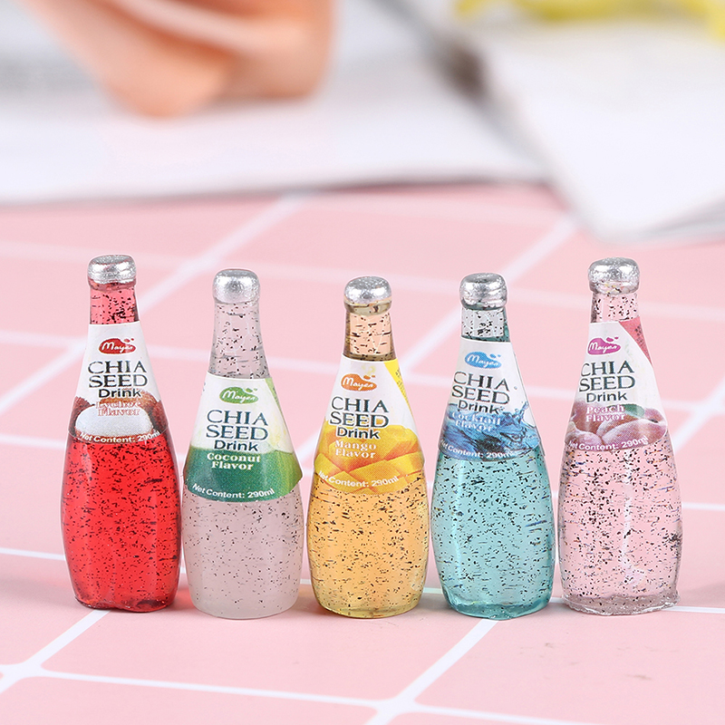 5Pcs Mini Juice/Beer Bottle DIY Charms For Sime Toys Filling Material Slime Accessories Beverage Bottle Lizun Model Tool Toys