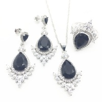 Black Cubic Zirconia Silver 925 Jewelry Sets Christmas Earrings/Rings/Pendant/Necklace Sets For Women Free shipping