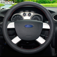 Shining wheat Black Genuine Leather Car Steering Wheel Cover for Ford Kuga 2008 2011 Focus 2