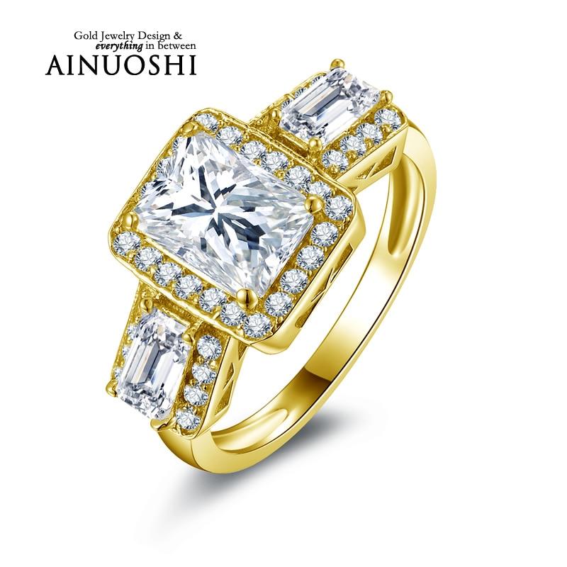 Ainuoshi 10 كيلو الصلبة الذهب الأصفر خاتم الزواج 1.5 ct مستطيل قص مقلد الماس مجوهرات آنيل دي أورو النساء engagemrnt خواتم