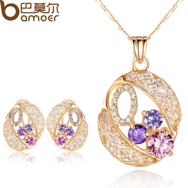 Bamoer luxo de ouro conjuntos de jóias com colar & brincos de casamento de cristal austríaco para as mulheres