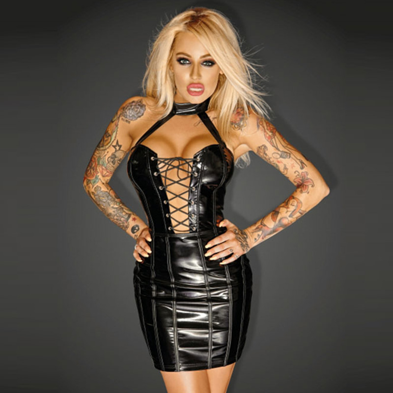Women's Mini Clubwear Sexy Nightwear Vinyl Leather Short Skinny Club Dress Black Wet Look Halter Bandage Wrap Bodycon Dresses