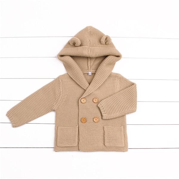 Winter Warm Newborn Baby Sweater Fur Hood Detachable Grey Infant Boys Girl Knitted Cardigan Fall Outwear Children Knitwear SW11 (6)