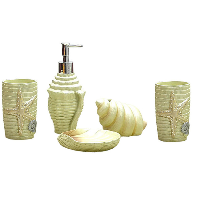 Cute Bathroom Accessories Sets.Sea Style Seashell Bathroom Accessories Set Cute Conch Toothbrush