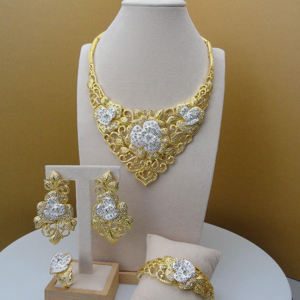 Yuminglai elegancki Design ze stopu Dubai złota biżuteria dla kobiet kostium zestawy biżuterii FHK5676 w Zestawy biżuterii od Biżuteria i akcesoria na  Grupa 1