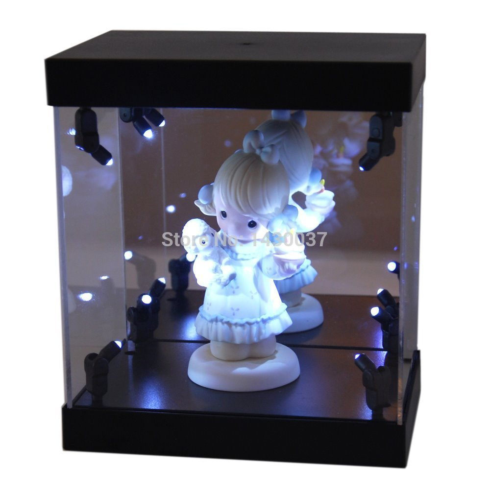 mb display box acrylic led light house for collectible dolls figurines showcase with led light. Black Bedroom Furniture Sets. Home Design Ideas