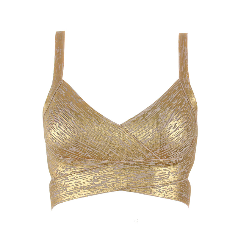 Short-Crop-Top Bandage Knitted Elastic Metallic Gold Silver Sexy High-Quality Women's