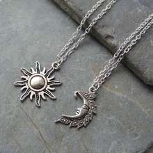 Новинка, серебряные солнечные и лунные ожерелья, цепочка, пара небесных лучших друзей, подарок для друга, длинные ожерелья и подвески для мужчин и женщин