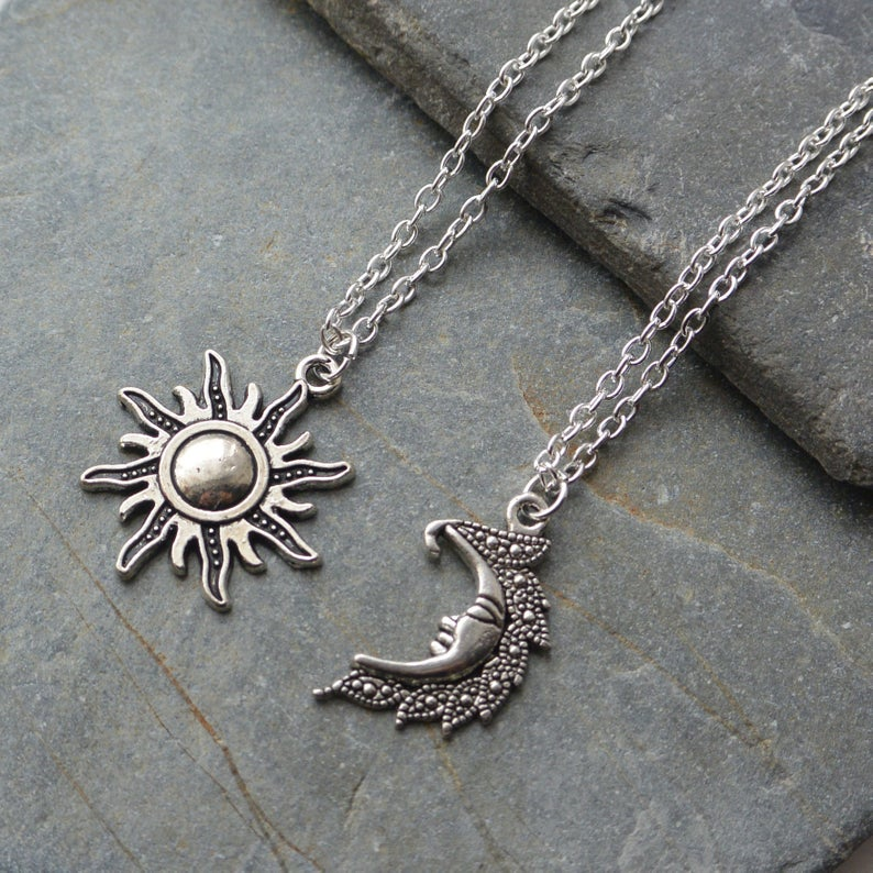 Par de colares de sol e lua, corrente de cor prata para amigos, presentes para amigos mulheres