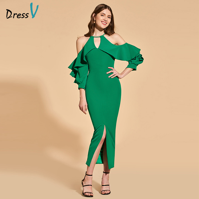 Dressv Green Cocktail Dress Elegant Zipper Up Long Sleeves Sheath Ruffles Tea Length Wedding Party Formal Dress Cocktail Dresses