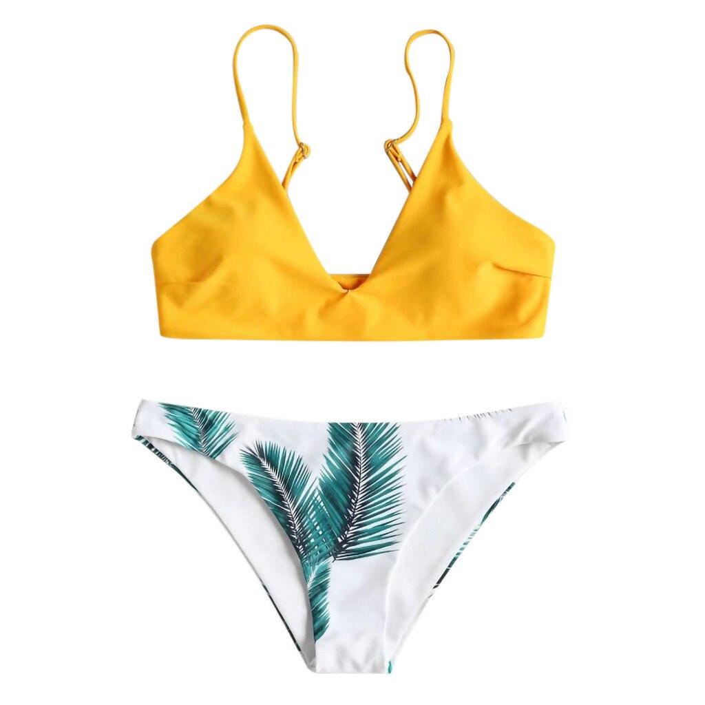 HTB1Sw5 aUuF3KVjSZK9q6zVtXXai Bikini 2018 Hot Sale 2019 Women's swimming suit Women's Bikini Set Sexy Leaves For Rope Swimsuit Push-up Swimwear 2.0#
