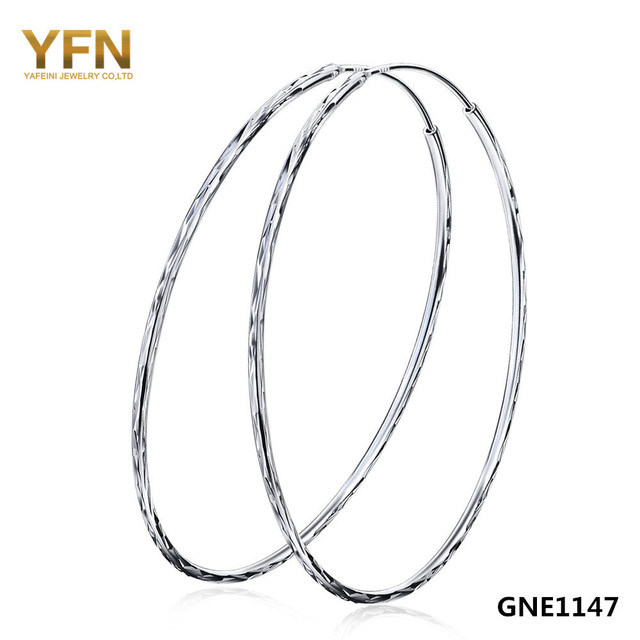 GNE1147 Wholesale 1Pair Diameter 60MM 925 Sterling Silver Jewelry Large Round Hoop Earrings Fashion Jewelry For Women