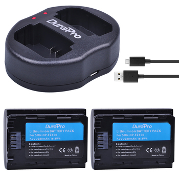 2PC 2280mAH NP FZ100 Battery + USB Charger for Sony NP-FZ100 BC-QZ1 Alpha 9, A7RIII, ILCE-7RM3 for Sony A9, A9R, Alpha 9s Camera