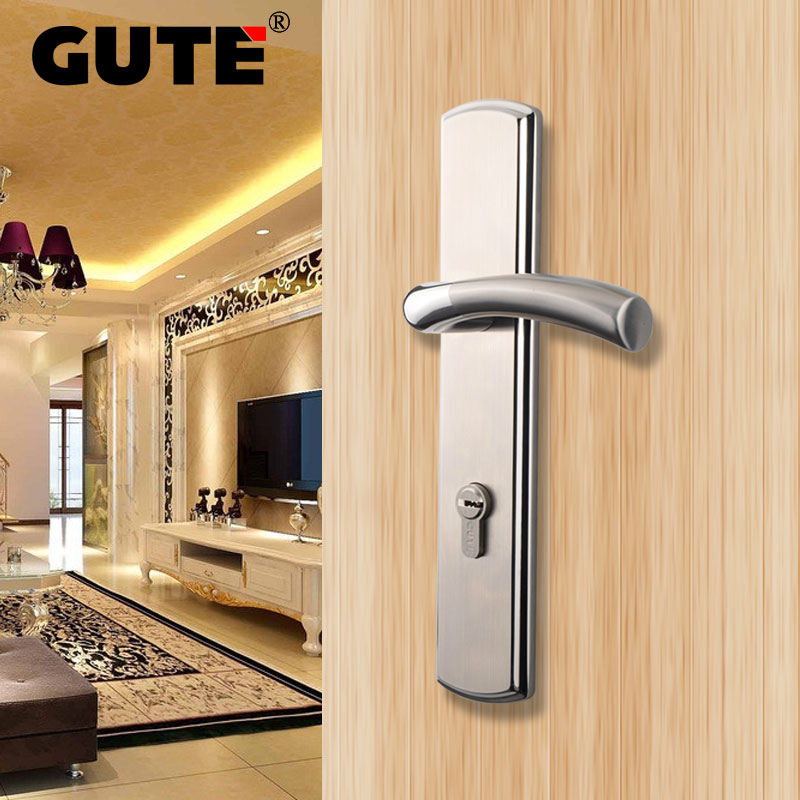 GUTE Stainless Steel Outdoor Door Lock Brushed Finish Bright Chrome Exterior Front Door Lock Home Security with Keys