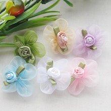 40PCS 1 1/8 Organza Ribbon Flowers w/Rose wedding supply Appliques