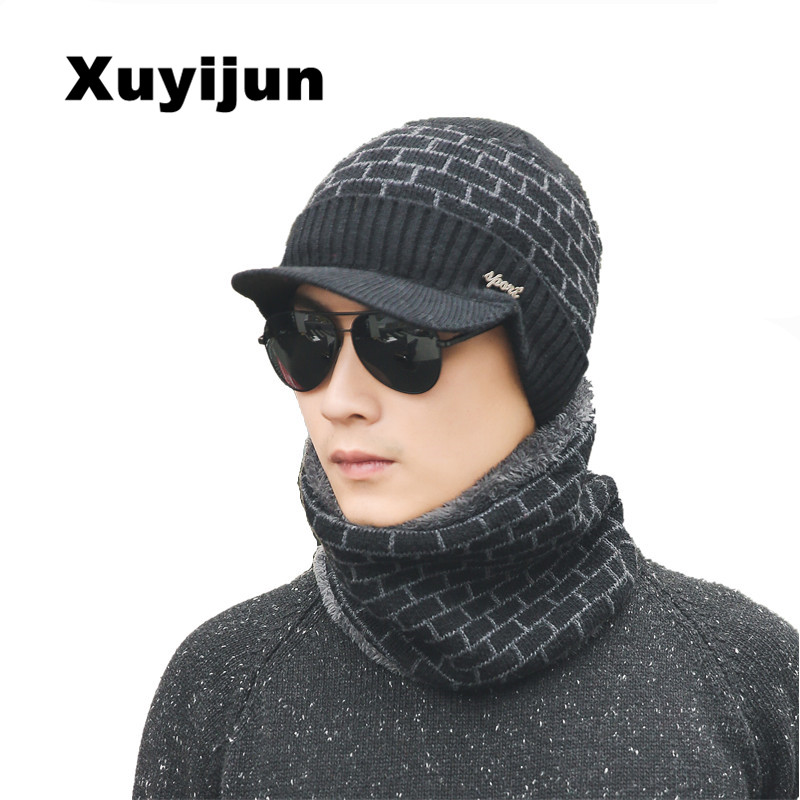 XUYIJUN 2018 Winter Hat Skullies Beanies Men Women Knitted Hat Scarf Winter Caps Mask Balaclava Bonnet Cap Wool Fur Beanies Hats men s skullies winter wool knitted hat outdoor warm casual solid caps for men caps hats