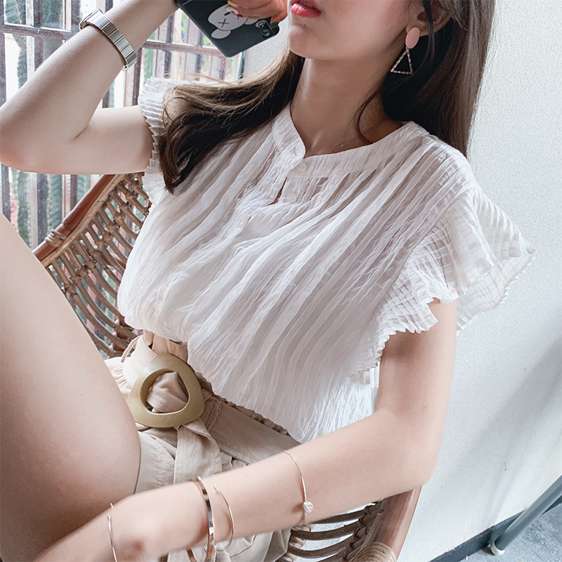 Mishow 2019 Summer New Casual Cotton Frilled Singel-breasted Vertical Stripes   Blouse     Shirt   Tops Women MX19B4634