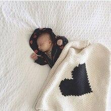 หัวใจเด็กทารกผ้าห่ม Swaddle Wrap รถเข็นเด็กเตียงตะกร้าผ้าห่มนุ่มถักโครเชต์ผ้าห่มทารกแรกเกิดโยนผ้าเช็ดตัว