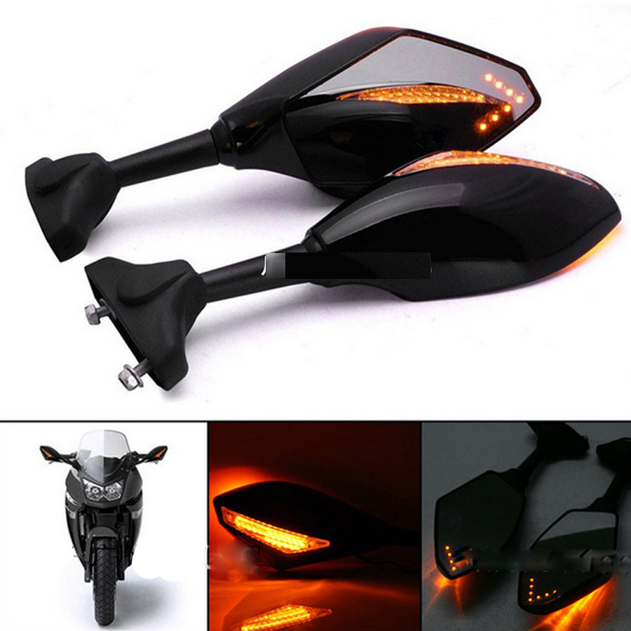 1 Pair Motorcycle Accessories LED Turn Signals Arror Integrated Rearview Mirrors For <font><b>Yamaha</b></font> Yzf Fzr 600 1000 R1 R6 FZ1 FZ6
