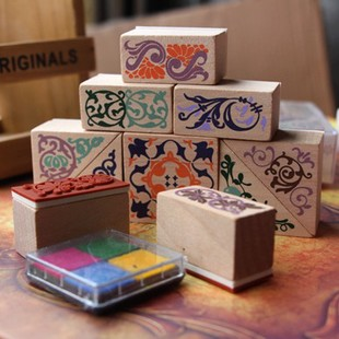 Wholesale stamps, beautiful wooden stamp to DIY photo album, scrapbook ancient stamp.4colors inkpads for gift, Free Shipping! jwhcj vintage cat date wood roller stamps for children diy handmade scrapbook photo album diary book decoration students stamps