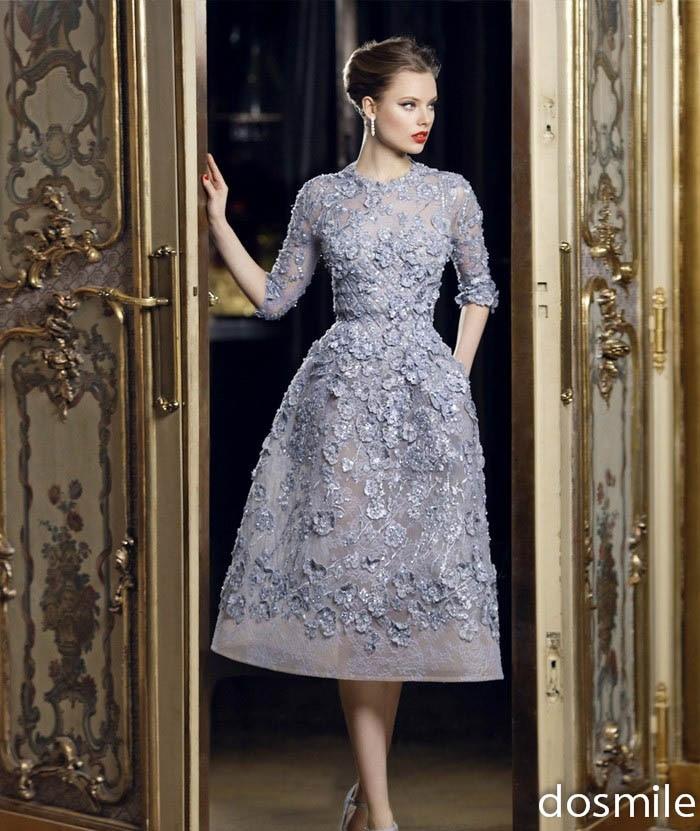 Elegant Long Sleeve Tea Length Wedding Dresses Simple: 2017 Noble Elegant Grey Evening Dresses O Neck A Line Tea