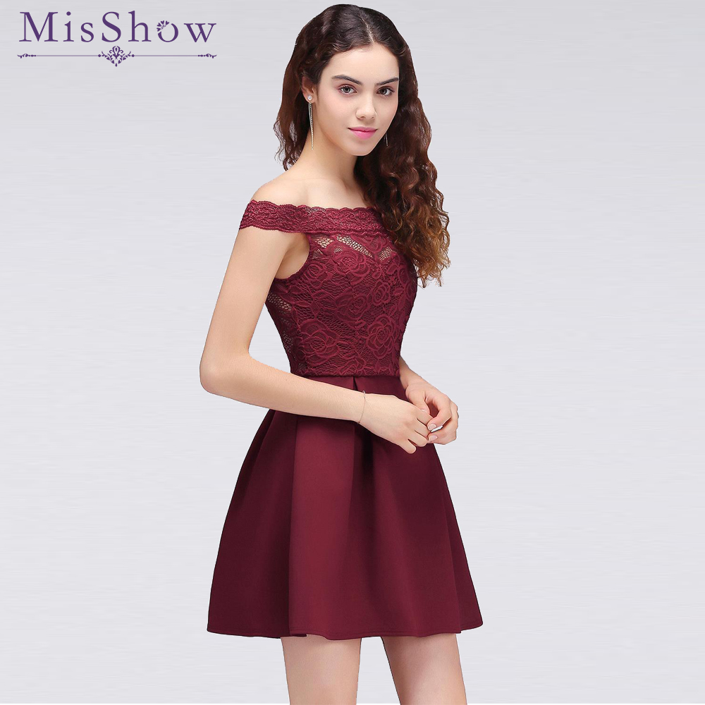 In Stock   Cocktail     Dresses   2019 Simple A-Line Boat Neck lace Satin Women Short Vestidos Sexy Women off shoulder   Cocktail     Dresses