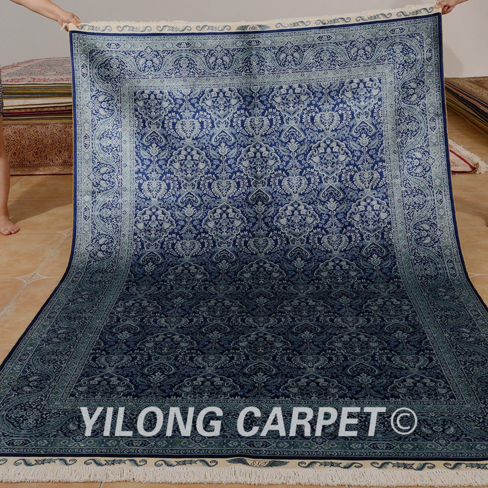 Hereke Silk Rug Youtube: Yilong 5.5'x8' Hand Knotted Hereke Carpet Dark Blue Qum