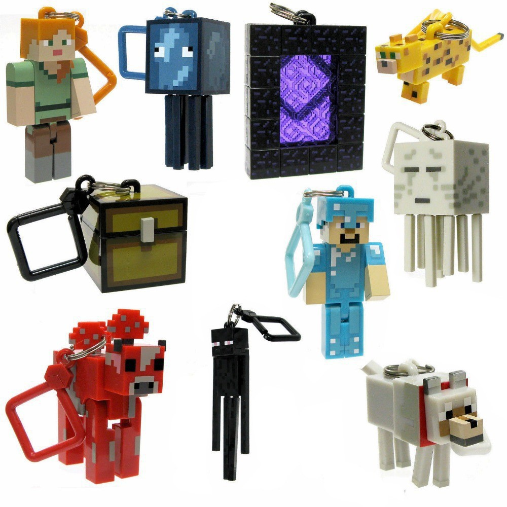 10 pcs minecraft keychain toys 2015 new minecraft creeper zombie steve sword anime figuras online game minecraft toys for adults