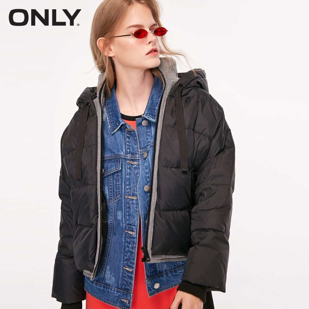 ONLY  Women's Fake Two Pieces White Duck Down Hooded Down Jacket |118323525