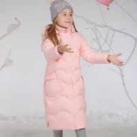 Теплое длинное пуховое пальто для русской зимы для девочек, высокое качество, белый утиный пух, Детская длинная куртка до колена, детская одежда, верхняя одежда, От 6 до 14 лет