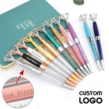 Multicolor Rotating Metal Ballpoint Pens Diamond Signature Advertising Private Customized Logo Birthday Gifts Pen
