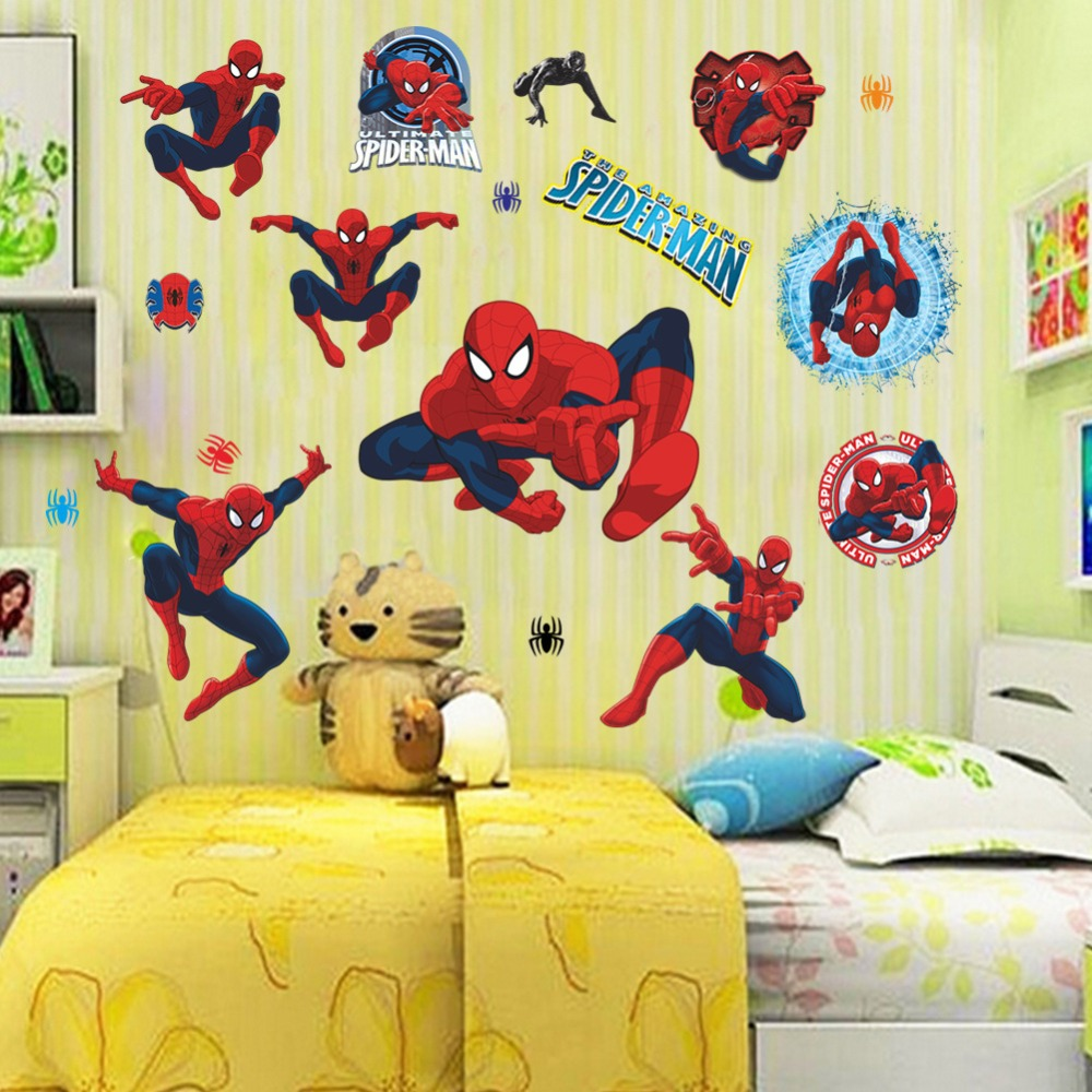 HOT!Cartoon Spider man wall stickers Boys Room Living room decals ...