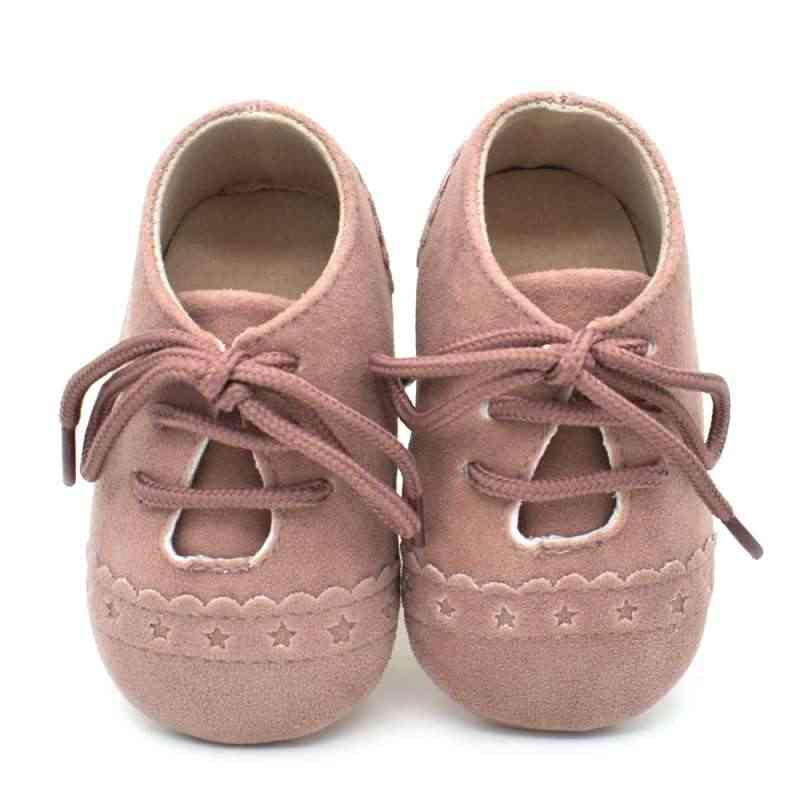 Newborn Baby Kids Soft Sole Moccasin Boys Girls Toddler Suede Leather Crib Shoes 0-18M
