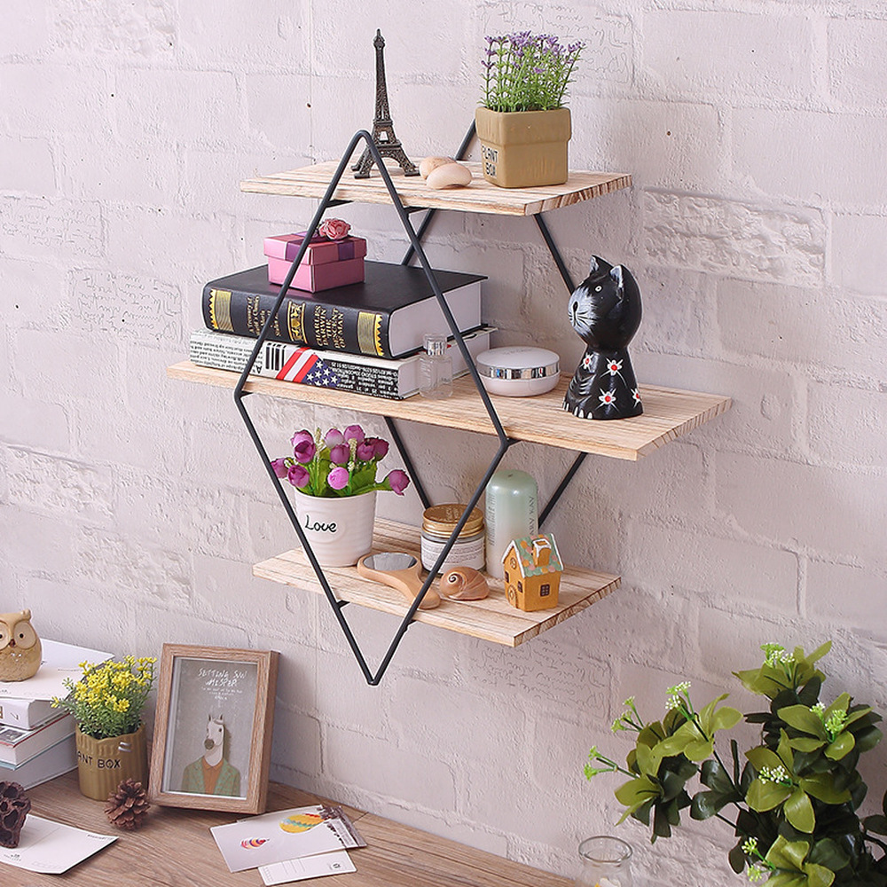 Rhombus Wrought Iron Wooden Wall Shelf Racks Vintage Solid Wood Wall