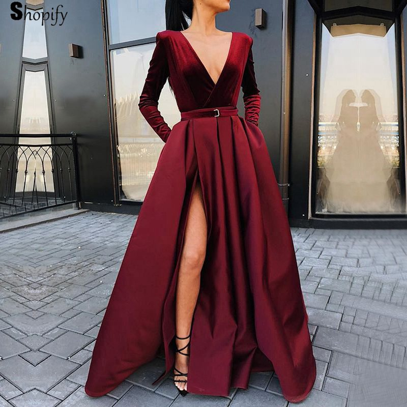 Long   Prom     Dresses   2019 Sexy Deep V-neck Long Sleeve High Slit African Girl Burgundy Velvet   Prom     Dress