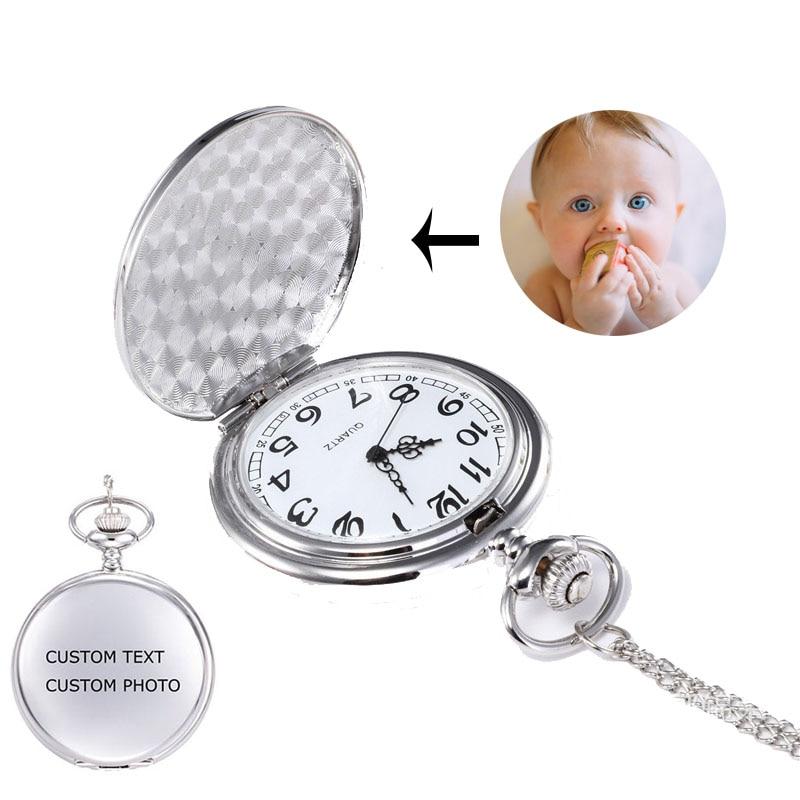 Personalized Photo Pendants Custom Pocket Watch Necklace Photo 2019 Fashion Quartz Pocket Watch For Men Women#SS50