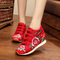 Red Fashion platform high quality warm in winter with fur women's embroidery soft sole national shoes low boots ladies shoes
