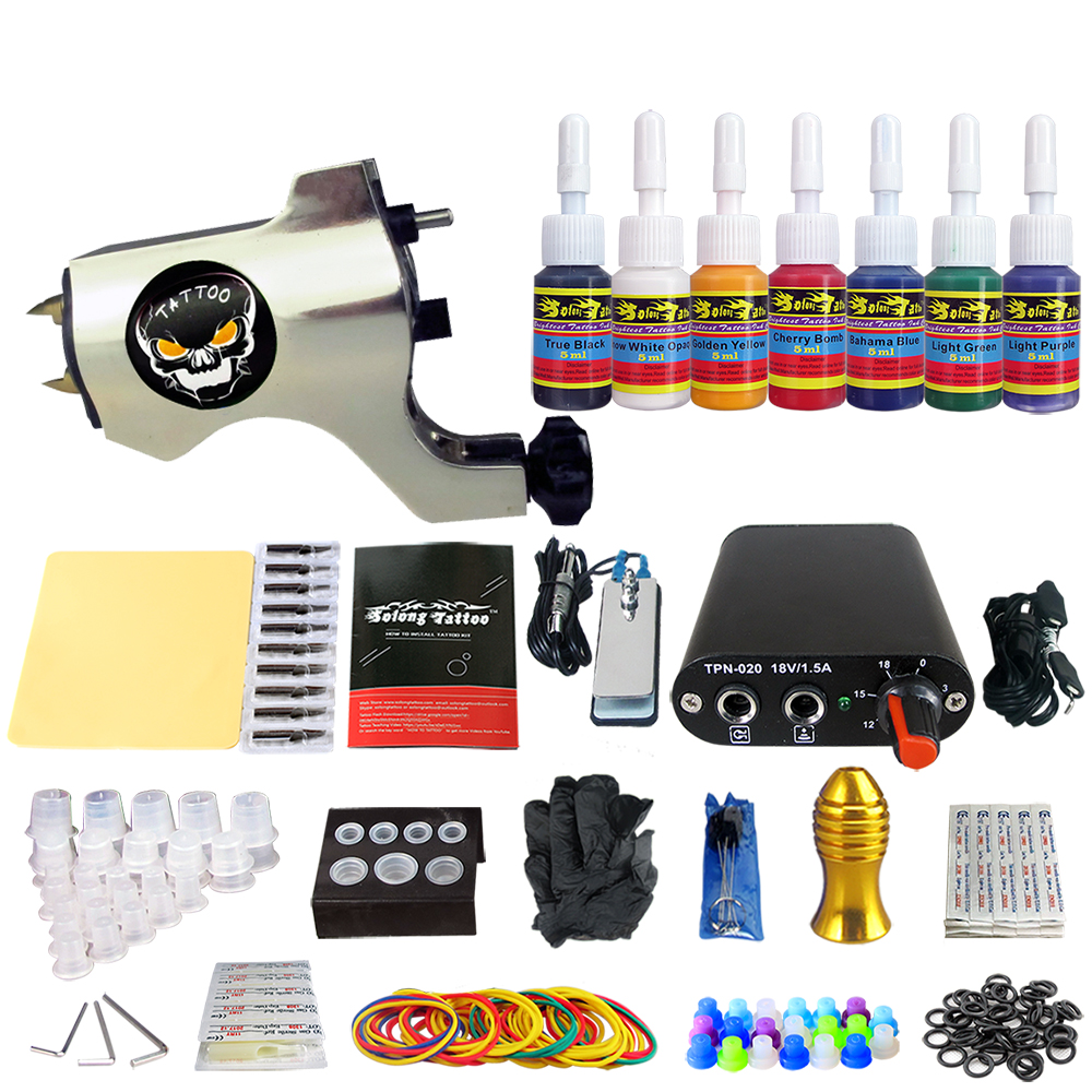 купить Solong Tattoo Complete Beginner Tattoo Kit 1 machine Gun 7 Color Inks Power Supply Grips Foot Petal Needles Set TK105-38 по цене 2991.21 рублей