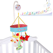 ELC baby cot with a rotatable music box bed bell with plush fabric to accompany the baby for baby gifts цена 2017