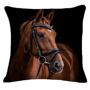 Image 4 - Creative Pillow Fashion Cartoon Animal Horse Home Decor Cotton Linen Cushion Cover 45cm*45cm #35