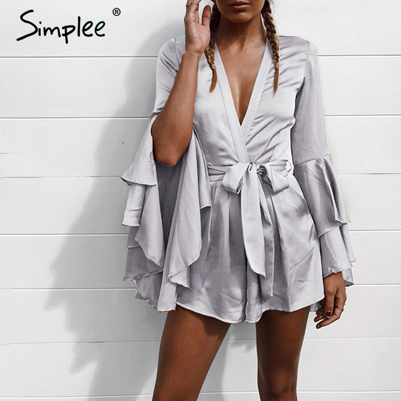 Simplee Deep v neck flare long sleeve playsuit High waist tie up pleated short romper Sexy summer 2018 new women jumpsuit